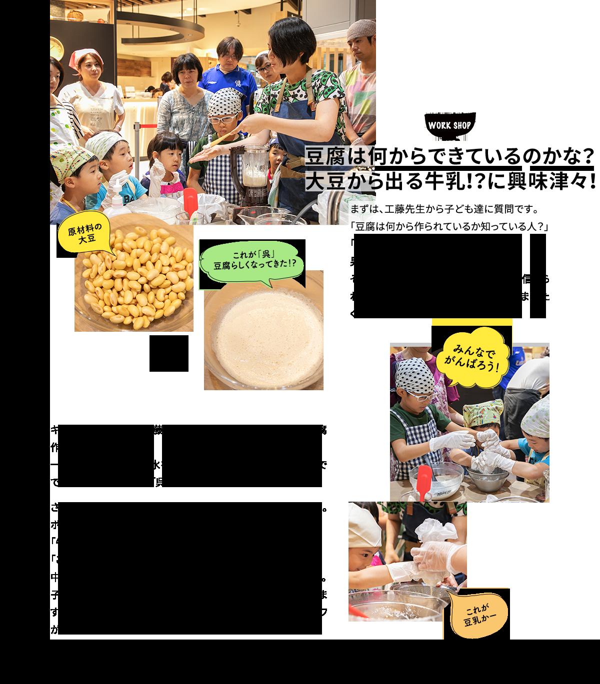WORK SHOP 豆腐は何からできているのかな?大豆から出る牛乳!?に興味津々!